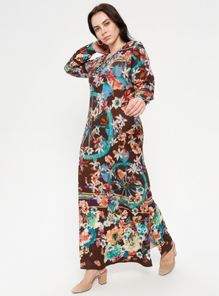 Multi - Floral - Crew neck - Unlined - Dress