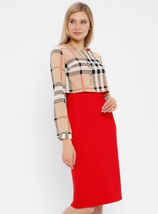 Red - Powder - Plaid - Crew neck - Unlined - Dress