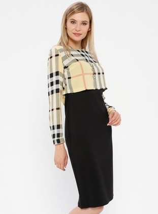 Black - Yellow - Plaid - Crew neck - Unlined - Dress