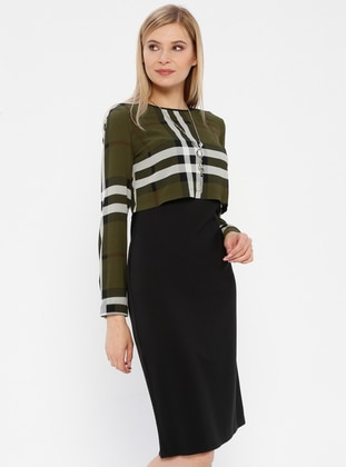 Green - Black - Plaid - Crew neck - Unlined - Dress