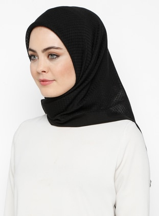 Black - Plain - Cotton - Scarf - Bonjela