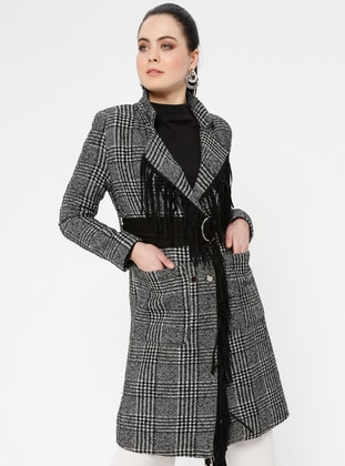 Black - Houndstooth - Fully Lined - Shawl Collar - Jacket