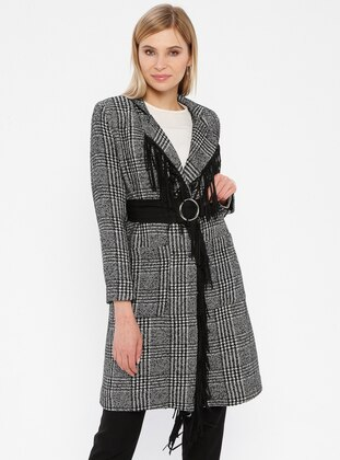 Black - Houndstooth - Fully Lined - Shawl Collar - Topcoat