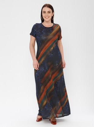 Navy Blue - Stripe - Crew neck - Unlined - Dress