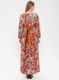 Brown - Coral - Multi - Crew neck - Fully Lined - Dress
