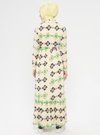 Yellow - Multi - Polo neck - Fully Lined - Dress