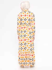 Orange - Multi - Polo neck - Fully Lined - Dress