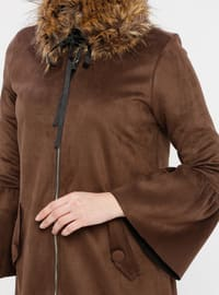 Brown - Unlined - Crew neck - Coat