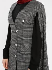 Gray - Plaid - V neck Collar - Fully Lined - Poncho