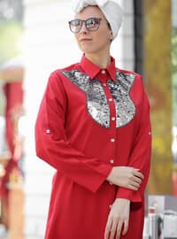 Red - Point Collar - Cotton - Acrylic - Blouses