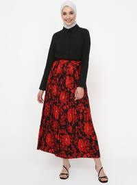 Red - Black - Leopard - Unlined - Skirt
