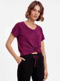 Purple - V neck Collar - T-Shirt