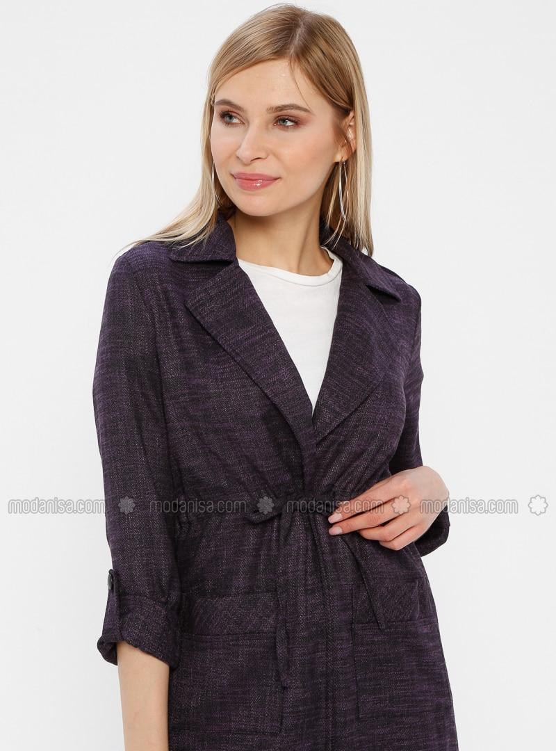 Purple - Shawl Collar - Cardigan