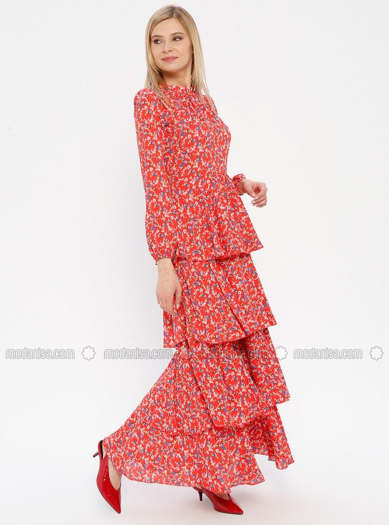 Koralle - Blumenmuster - Stehkragen - Mit Innenfutter - Hijab Kleid