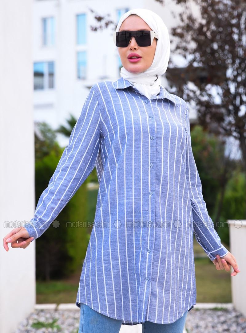 Blue - Stripe - Point Collar - Cotton - Acrylic - Blouses