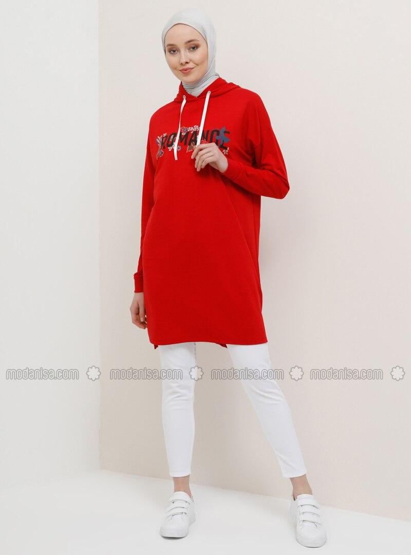 Red - Multi - Cotton - Tunic