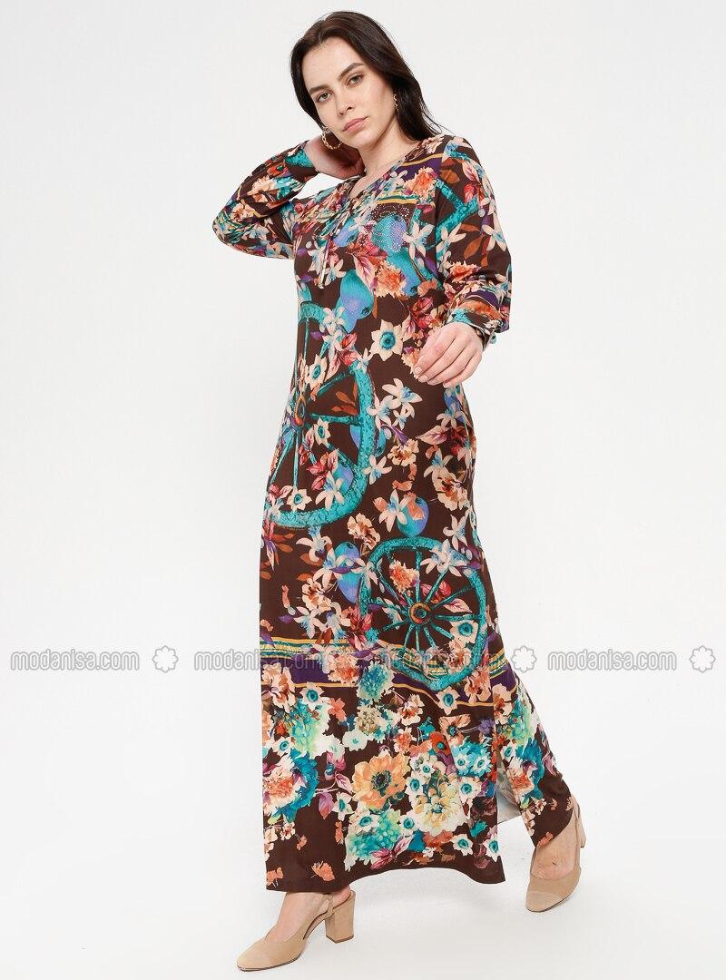 Bunt - Blumenmuster - Rundhalsausschnitt - Ohne Innenfutter - Hijab Kleid