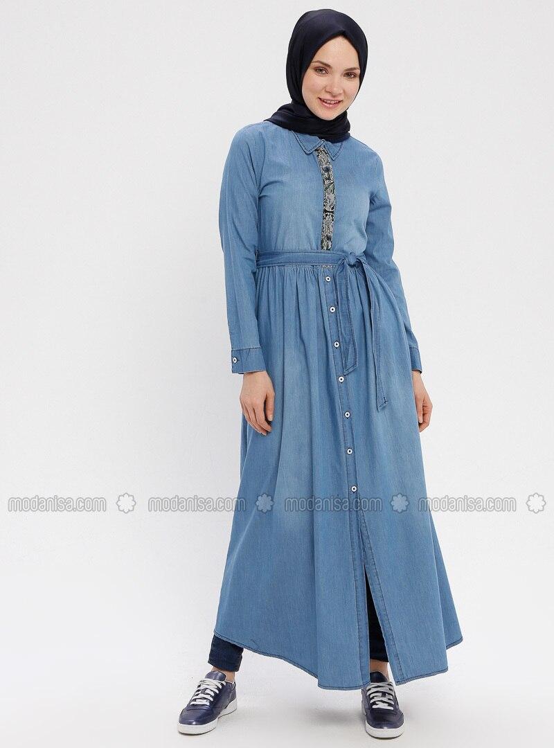 Blue - Unlined - Point Collar - Denim - Topcoat