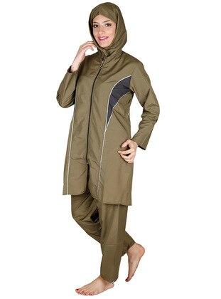 Khaki - Fully Covered Swimsuits