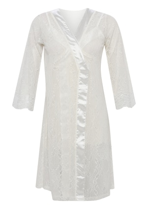 White - Ecru - Cotton - Viscose - Morning Robe - Artış Collection