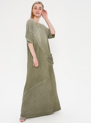 Green - Crew neck - Fully Lined - Dress