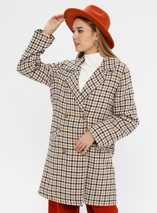 Camel - Houndstooth - Fully Lined - Shawl Collar - Acrylic -  - Coat