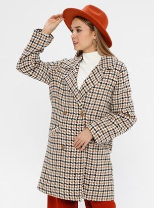 Camel - Houndstooth - Fully Lined - Shawl Collar - Acrylic -  - Coat