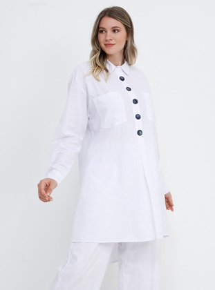 White - Ecru - Point Collar - Cotton - Plus Size Tunic