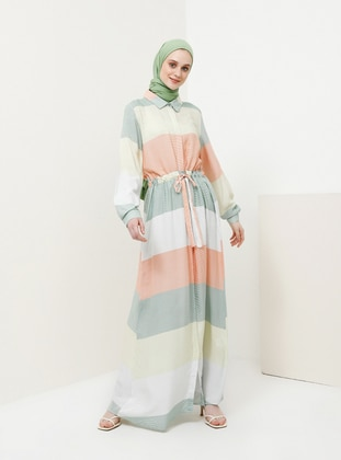 Green - Yellow - Point Collar - Unlined - Viscose - Dress