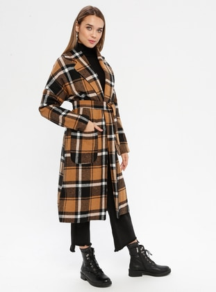 Camel - Checkered - Fully Lined - Shawl Collar - Acrylic -  - Coat