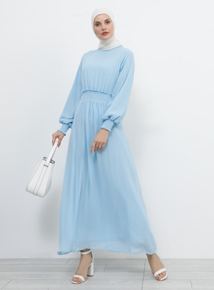 Blue - Baby Blue - Crew neck - Fully Lined - Dress