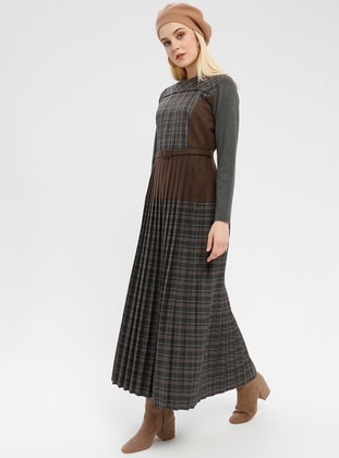 Brown - Plaid - Crew neck - Unlined - Dress