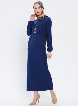 Blue - Navy Blue - Indigo - Crew neck - Unlined - Dress