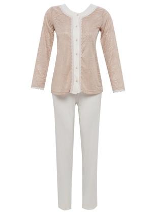 Beige - Cream - Crew neck - Floral - Cotton -  - Pyjama