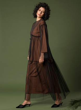 Black - Brown - Crew neck - Unlined - Dress