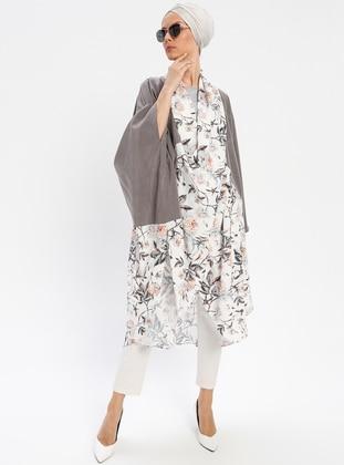 Gray - Multi - Shawl Collar - Tunic