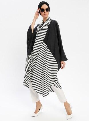Black - White - Ecru - Stripe - Shawl Collar - Tunic