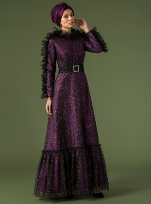 Black - Purple - Unlined - Crew neck - Muslim Evening Dress