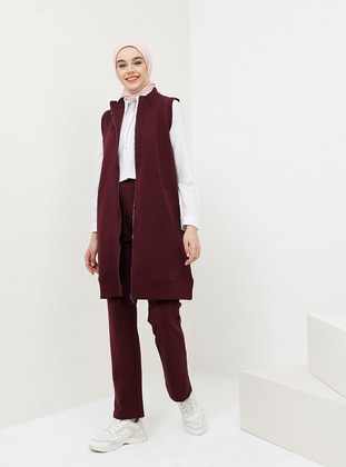 Plum - Cotton - Polo neck - Tracksuit Set