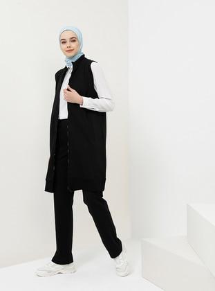Black - Cotton - Polo neck - Tracksuit Set