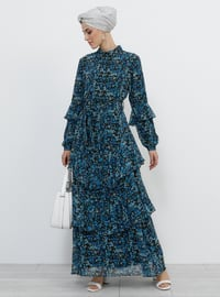 Black - Saxe - Floral - Point Collar - Fully Lined - Dress