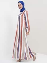 İndigo - Çizgili - Yuvarlak yakalı - Astarsız kumaş - Elbise