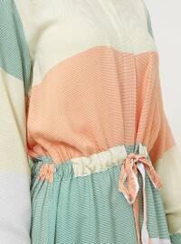 Green - Yellow - Point Collar - Unlined - Viscose - Dress