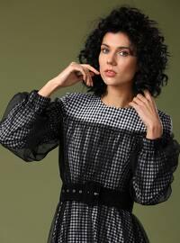 Black - White - Stripe - Checkered - Crew neck - Fully Lined - Dress