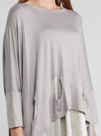 Gray - Crew neck - Cotton - Tunic