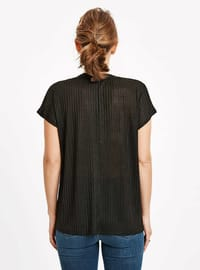 Black - V neck Collar - T-Shirt