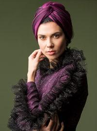 Black - Purple - Unlined - Crew neck - Muslim Evening Dress