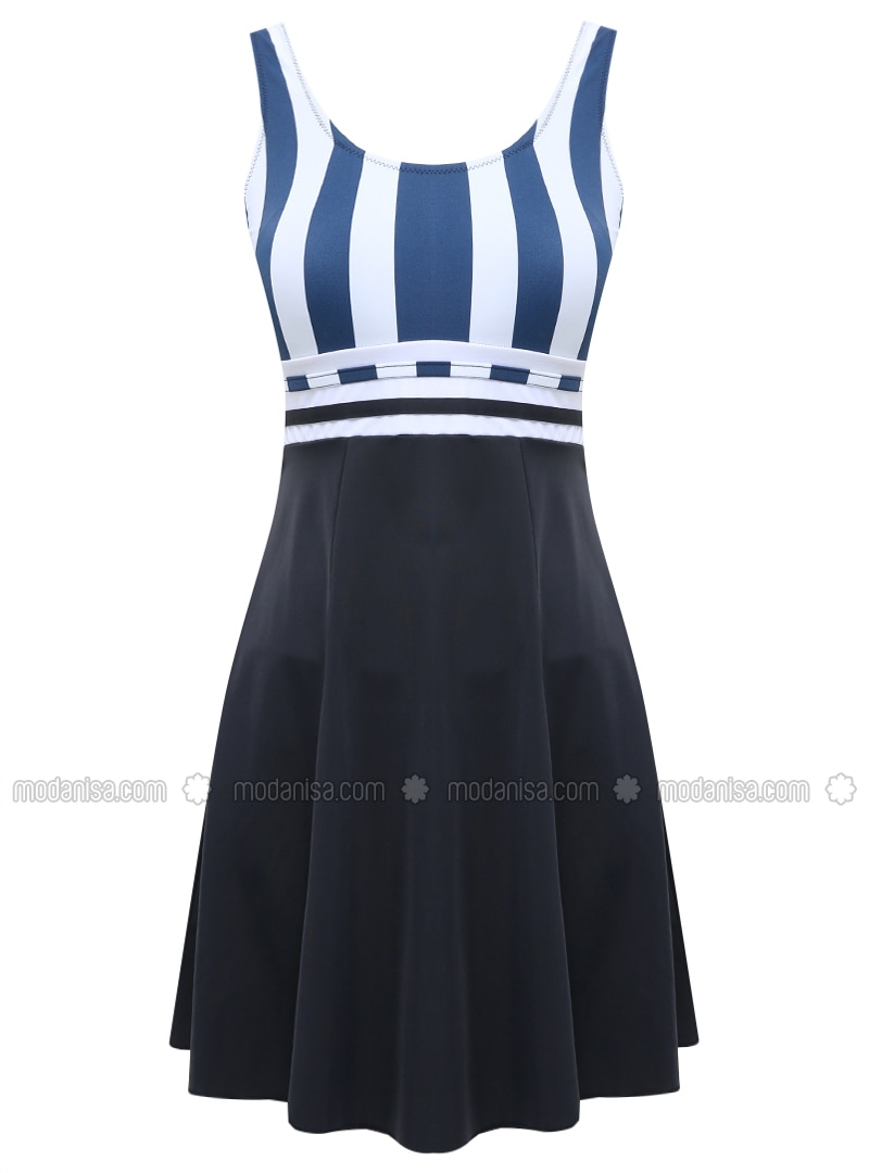 Blue - White - Navy Blue - Multi - Half Covered Switsuits