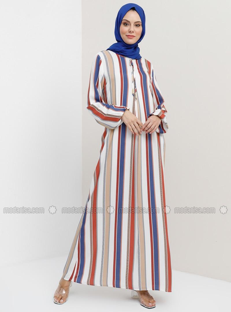 Indigo - Stripe - Crew neck - Unlined - Dress