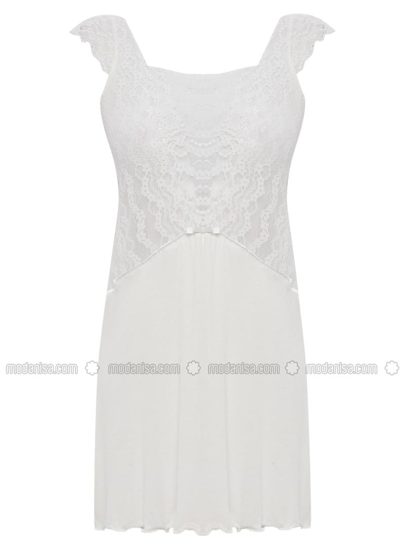 Ecru - Sweatheart Neckline - Cotton -  - Nightdress